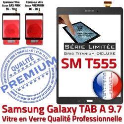 SM-T555 Adhésif Vitre Grise Verre Supérieure TAB-A Galaxy Ecran SM Assemblée T555 Gris PREMIUM Samsung TITANIUM 9.7 Tactile Assemblé Qualité