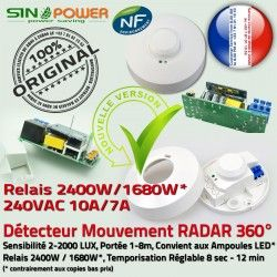Détecteur Mouvement Plafond Radar Ampoules Éclairage HF de pour Automatique Micro-Ondes Luminaire 360° Hyperfréquence Capteur
