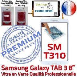 Prémonté TAB3 Blanche Coller Vitre SM-T310 8 Tactile Assemblée Qualité Ecran Galaxy à Samsung Supérieure PREMIUM Verre inch en