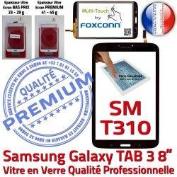 en Noir 8 Coller à PREMIUM Verre TAB3 Supérieure Noire Samsung in Vitre SM-T310 Galaxy Qualité Assemblée Prémonté Ecran Tactile