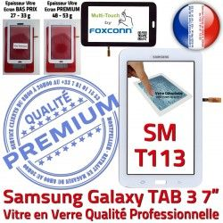 Tactile Ecran TAB3 Assemblée T113 Samsung Prémonté PREMIUM Vitre LITE Supérieure Verre Adhésif Tab3 Qualité Blanc Galaxy en SM-T113 SM Blanche LCD