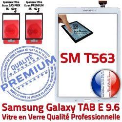 Samsung Ecran 9.6 Supérieure PREMIUM Verre Assemblée Blanche T563 Assemblé Adhésif B Qualité Tactile Galaxy Blanc SM-T563 Vitre SM TAB-E