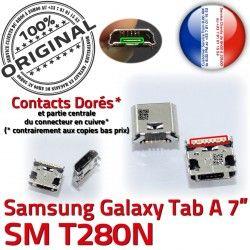 ORIGINAL de Chargeur charge T280N Micro souder inch Dock Galaxy Connecteur SM Tab Samsung A à Prise Connector Pins TAB USB 7 Dorés