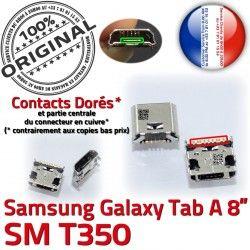 ORIGINAL SLOT Fiche souder Qualité Samsung MicroUSB Prise SM-T350 Pins Dock Connector USB Galaxy Chargeur de Dorés TAB-A charge Tab-A à