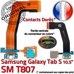 TAB-S Chargeur Charge de USB ORIGINAL Dorés SD Connecteur Galaxy S T807 SM-T807 Contacts Réparation Qualité TAB Samsung Lecteur Nappe Micro SM
