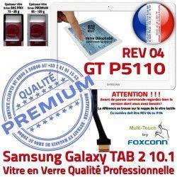 en TAB Verre 10.1 B Samsung R REV GT-P5110 PREMIUM Vitre Assemblée Prémonté 2 GT Adhésif P5110 04 TAB2 Blanche Galaxy Ecran LCD Tactile Qualité