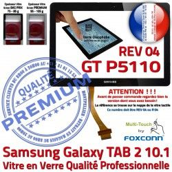 TAB Ecran Samsung GT 2 Vitre LCD 04 P5110 GT-P5110 Prémonté Noire PREMIUM R REV Qualité TAB2 Verre Supérieure Tactile Adhésif en Galaxy 10.1 N