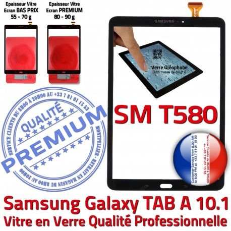 Samsung Galaxy TAB A SM-T580 N Noire Qualité Tactile 10.1 TAB-A Résistante Verre Noir aux T580 Chocs Ecran PREMIUM SM en Vitre Supérieure