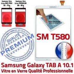 Tactile Ecran B PREMIUM Chocs in Blanche Verre TAB-A A SM-T580 Galaxy Qualité TAB 10.1 Blanc Supérieure Vitre aux en Résistante Samsung