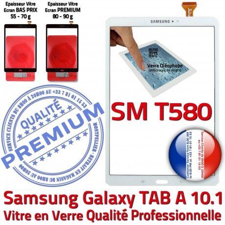 Galaxy Samsung TAB A SM-T580 B Qualité in Résistante Blanc aux 10.1 Vitre TAB-A Blanche PREMIUM Supérieure Chocs en Verre Tactile Ecran
