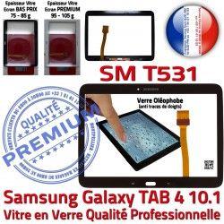 PREMIUM Complet Noire Galaxy Complète Noir Qualité Samsung Prémonté Tab4 TAB4 Verre SM-T531 en Tactile Assemblée Adhésif Vitre Écran