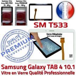 Samsung Verre SM-T533 Blanc Vitre Tactile TAB4 Prémonté Adhésif Blanche PREMIUM Complet Complète Tab4 Supérieure Galaxy Écran Qualité