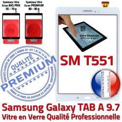 Blanche Qualité Galaxy TAB Écran Blanc Tactile A Complète Complet SM-T551 PREMIUM Adhésif T551 Précollé TAB-A SM Samsung Vitre Prémonté Verre