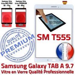 A TAB T555 Précollé Samsung Galaxy Écran Complète Blanche PREMIUM Blanc Adhésif Verre Complet Vitre Tactile SM-T555 SM TAB-A Qualité Prémonté
