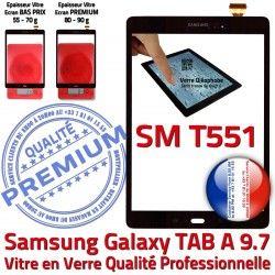 A en Complet SM Complète Qualité Verre Noir TAB Tactile T551 Prémonté Assemblée Samsung PREMIUM SM-T551 TAB-A Galaxy Vitre Noire Écran Adhésif