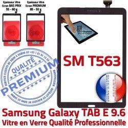 Noir T563 Noire Adhésif E Tactile TAB Supérieure Prémonté SM-T563 Verre Samsung Galaxy TAB-E Qualité Assemblée PREMIUM SM Ecran Vitre 9.6