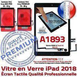 IC - Tablette Fixation Noir Verre iPad Ecran Qualité Monté Tactile A1893 Caméra Oléophobe 6 Nappe HOME Vitre Adhésif Réparation