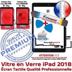9.7 KIT PREMIUM Outil inch Tactile 2018 N Démontage Qualité HOME Adhésif Verre Vitre Precollé Réparation Nappe iPad PACK Oléophobe Noire Bouton