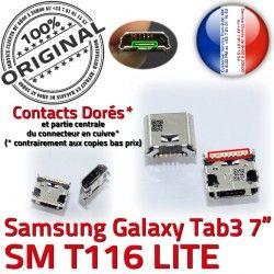 TAB3 Samsung Galaxy Fiche Dock SLOT Dorés à MicroUSB Connector Chargeur SM-T116 de charge USB Pins ORIGINAL souder Prise Tab3 Qualité