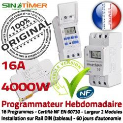 Contacteur Vidéosurveillance Rail Programmateur 4kW 16A Electronique Commande 4000W DIN Creuses Hebdomadaire Automatique Jour-Nuit Heure
