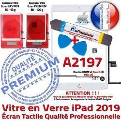 Precollé Bouton PACK Verre Tactile Vitre Qualité iPad KIT B Blanche PREMIUM Adhésif A2197 Réparation 2019 Nappe HOME Outils Oléophobe