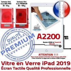 2019 A2200 Qualité HOME Blanc Monté Verre Adhésif Ecran Fixation Oléophobe Vitre Nappe Tactile iPad Tablette Caméra Réparation