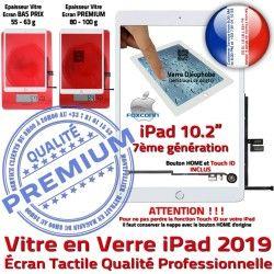 A2200 iPad PREMIUM 2019 Qualité Vitre Bouton A2198 HOME Oléophobe Adhésif Verre Fixation Precollé Caméra Ecran Remplacement Blanc Tactile A2197