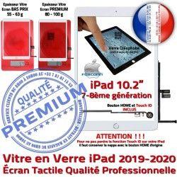 Tactile Remplacement Fixation Bouton 10.2 inch Blanc Caméra Ecran Verre Adhésif HOME Vitre 2019-2020 PREMIUM iPad Precollé Qualité in