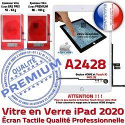 Fixation Blanc Réparation Adhésif Nappe Ecran Tactile Qualité Tablette Oléophobe 2020 Vitre Monté Caméra HOME Verre A2428 iPad