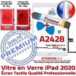 PACK Verre Réparation iPad Qualité Precollé Vitre Oléophobe Bouton Tactile Adhésif Outils A2428 PREMIUM B Nappe HOME KIT 2020 Blanche
