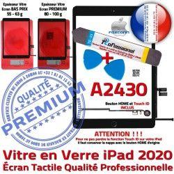 Réparation Vitre PREMIUM Outils HOME Oléophobe Noire Adhésif iPad 2020 Verre Qualité Tactile A2430 Bouton Démontage Precollé N PACK KIT