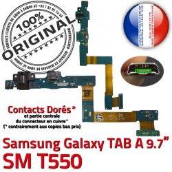 Connecteur SM-T550 Qualité Galaxy ORIGINAL de USB Contacts Chargeur Nappe A C Réparation Micro Charge T550 SM OFFICIELLE Doré Samsung TAB