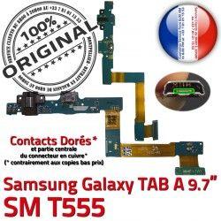 Qualité Connecteur OFFICIELLE SM-T555 MicroUSB Galaxy TAB T555 C SM Doré de ORIGINAL Contact Samsung A Nappe Chargeur Charge Réparation