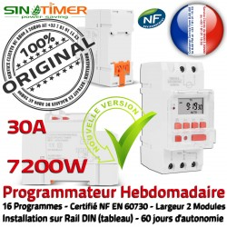 Automatique Heures Contacteur SINOTimer 7200W 7kW Rail DIN Programmateur Jour-Nuit Hebdomadaire Electronique 30A Creuses Chauffe-Eau