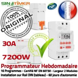 7kW 7200W Digital Journalière Contacteur Minuterie Programmation électrique Rail Tableau DIN Électronique Chauffage 30A Automatique