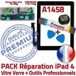 Outils Tactile Vitre PREMIUM Bouton KIT 4 Verre iPad Adhésif A1458 Precollé Oléophobe HOME Qualité Réparation Démontage Noire N iPad4 PACK