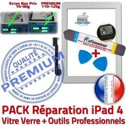 Precollé Qualité Bouton Adhésif B PACK PREMIUM Vitre iPad Réparation Apple A1459 Oléophobe HOME 4 Démontage iPad4 Outils A1460 Verre Blanche Tactile A1458 KIT