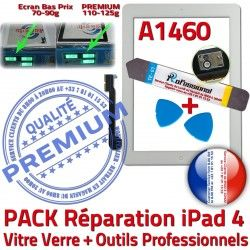B Réparation iPad4 PACK iPad PREMIUM Vitre KIT Outils Verre Bouton 4 Oléophobe Blanche Qualité Démontage Tactile Adhésif Precollé A1460 HOME