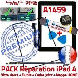 Verre Tablette Adhésif Tactile Apple KIT N PACK Vitre Outils Nappe iLAME Bouton HOME Réparation iPad4 Cadre Joint Noire Precollé A1459