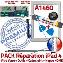 Outils iLAME iPad4 A1460 Tablette PREMIUM Apple Vitre Blanche Tactile Precollé Nappe B Adhésif Joint Bouton HOME Verre Réparation PACK