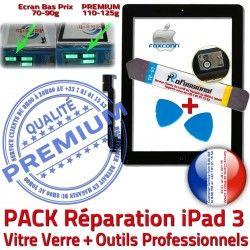 A1430 Tactile Vitre Outils 3 KIT iPad Oléophobe HOME Démontage Adhésif PREMIUM PACK Qualité Réparation Verre A1403 Tablette iPad3 A1416 Bouton Precollé Noire N