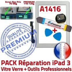 B HOME Verre Oléophobe Tactile Vitre Adhésif Precollé iPad3 Réparation KIT Bouton A1416 Blanche Outils iPad PREMIUM 3 Démontage Qualité PACK