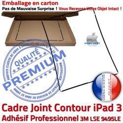 ABS Noir Vitre Precollé Apple Tactile iPad Cadre Plastique Autocollant N Réparation Châssis 3 Adhésif Ecran Tablette Contour Joint
