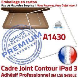 Plastique Ecran Vitre iPad Cadre Apple B A1430 Tablette Adhésif Blanc Joint Tactile ABS Châssis Autocollant 3 Contour Réparation