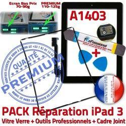 Outils Tablette Vitre Cadre N Tactile Adhésif A1403 iPad3 Verre Réparation PACK Joint Noire Chassis iLAME HOME Bouton KIT Apple 3 Precollé iPad