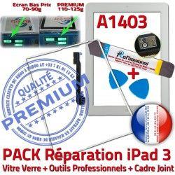Cadre Outils iPad3 Blanche Réparation Tablette Bouton Tactile Apple iPad Vitre PACK Joint B HOME Precollé Verre Adhésif A1403 3 PREMIUM iLAME
