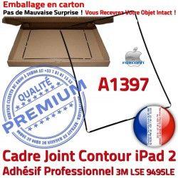 2 Vitre Ecran N Plastique Adhésif Tablette Autocollant Joint Réparation Châssis A1397 iPad Apple Cadre Precollé Noir Contour Tactile
