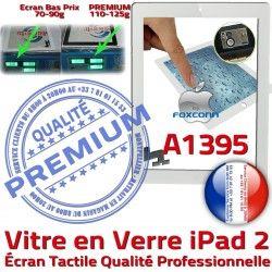 iPad2 Caméra iPad HOME Vitre Remplacement Apple Precollé Ecran Tactile Blanc Bouton Adhésif Verre 2 Qualité PREMIUM A1395 Fixation Oléophobe