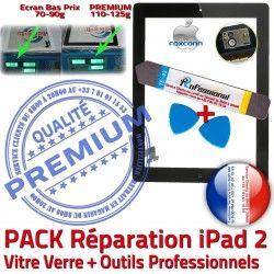 iPad A1395 Adhésif 2 Réparation HOME Vitre Oléophobe Noire PACK N KIT Qualité Verre Tablette PREMIUM Démontage Tactile Precollé iPad2 Outils Bouton A1396 A1397