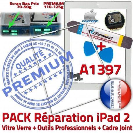 PACK iPad 2 A1397 iLAME Joint B iPad2 Verre Cadre Blanche Adhésif Tablette Réparation Bouton PREMIUM HOME Apple Outils Precollé Tactile Vitre